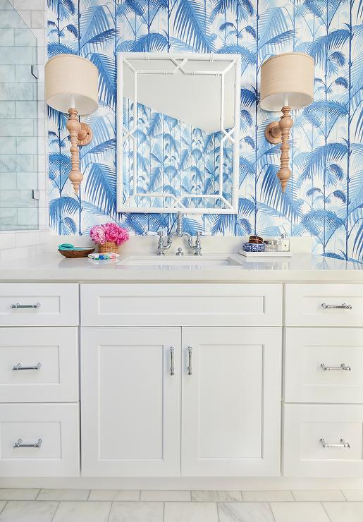 Palm Jungle Wallpaper In White And Blue Bathroom Cottage
