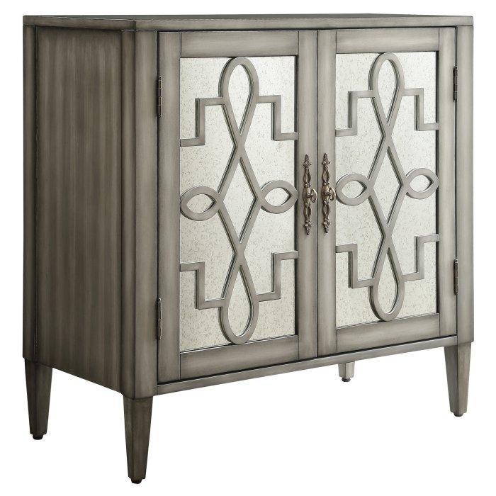 Chelsea Lane Geometric Silver Mirrored, Mirrored Wine Cabinet