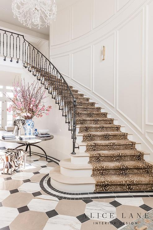 wrought iron handrails for stairs modern style home.htm curved staircase with antelope print runner contemporary  curved staircase with antelope print