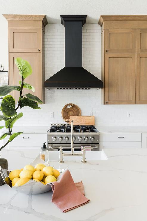 Black Range Hood with Stainless Steel Stove - Transitional ...