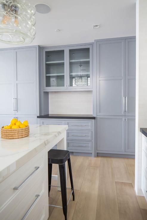 Blue Gray Kitchen Cabinets And White Island With Legs Transitional Kitchen