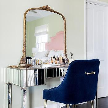 Blue Vanity Chair With Floating Makeup Vanity