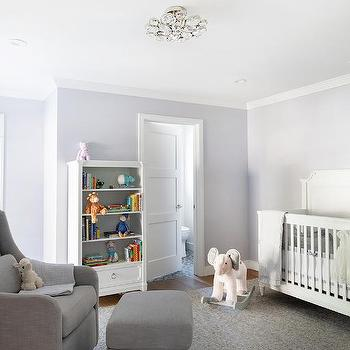 White And Lilac Nursery With Gray Glider And Ottoman