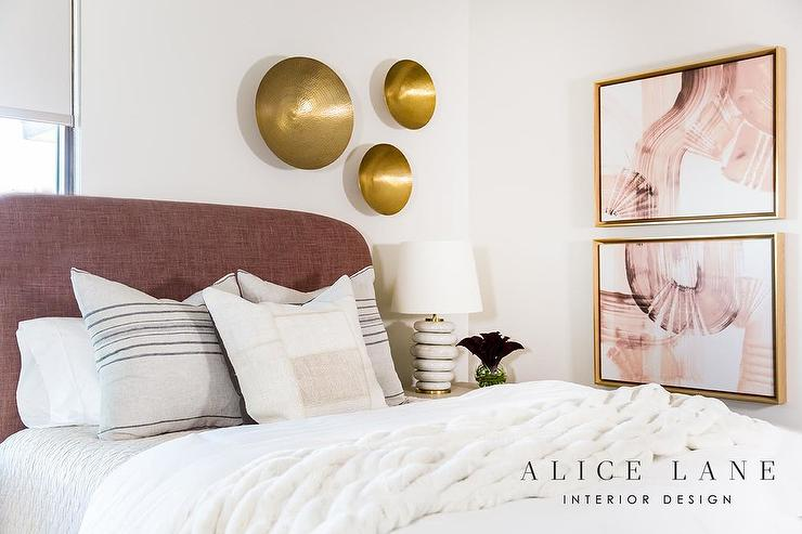 Mauve Headboard with Marble Lamp - Transitional - Bedroom