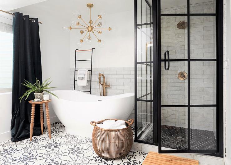 Large Wicker Globe Chandelier Over Light Gray Bench Transitional Bathroom
