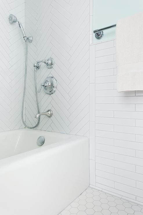 Light Gray Herringbone Tiles Transitional Kitchen