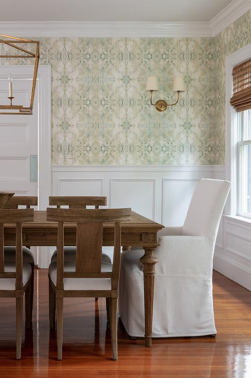 Yellow And Green Wallpaper With, Dining Room Wallpaper Wainscoting