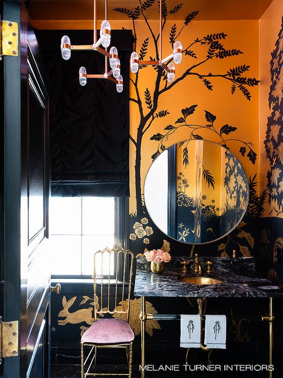 Orange and Black Powder Room with Painted Wall Mural - Contemporary