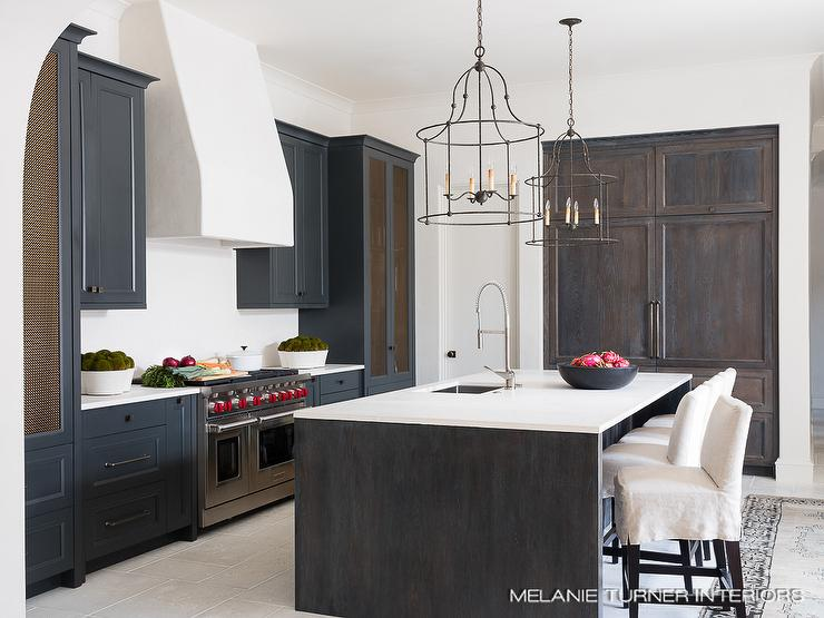 Black Gothic Style Kitchen With Metal Grille Cabinet Doors Transitional Kitchen