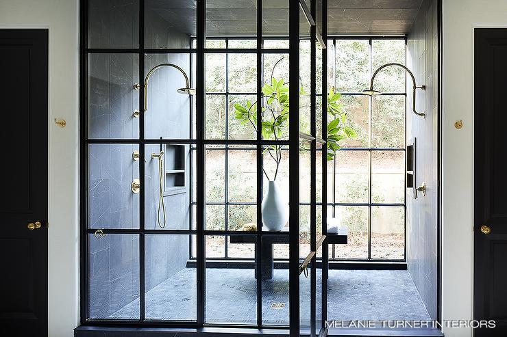 . Honed Black Soapstone Staggered Shower Tiles   Modern   Bathroom