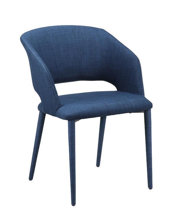 Fantastic Matleena Curved Navy Linen Open Back Dining Chair Dailytribune Chair Design For Home Dailytribuneorg