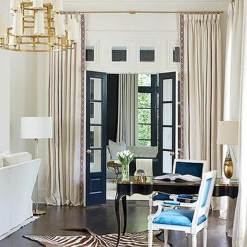 Gold And Black French Desk With Blue Velvet Chairs