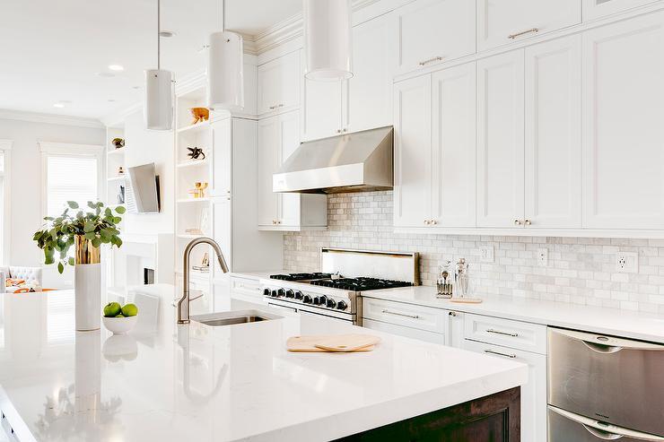 White Brick Kitchen Backsplash Tiles Design Ideas
