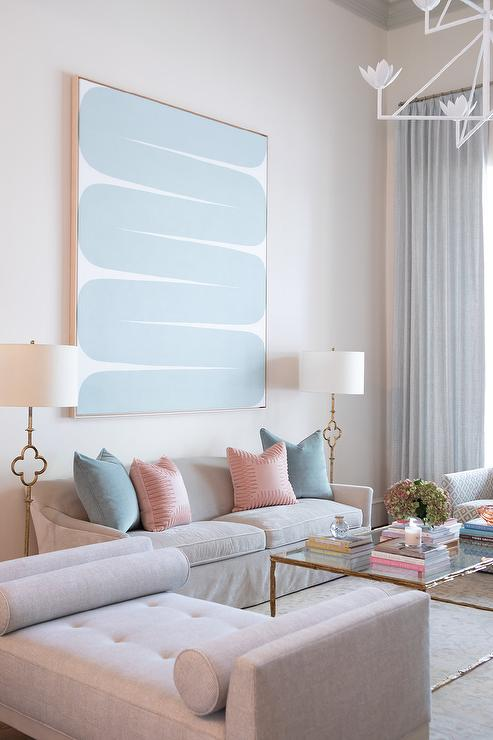 Light Gray Sofa With Pink And Blue Pillows Transitional Living Room