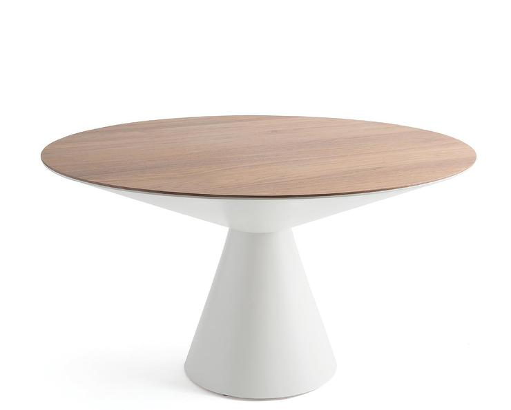 Prudence Round Walnut Top White Pedestal Dining Table