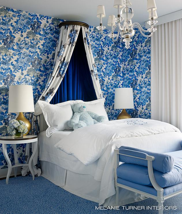 White and Blue Girls Bedroom with Blue Velvet Bed Canopy ...