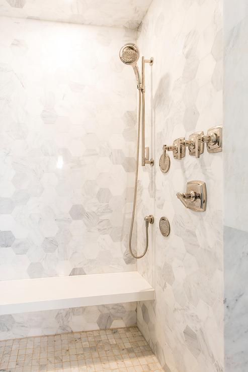 floor and decor grout.htm white marble grid shower floor with gold grout transitional  white marble grid shower floor with