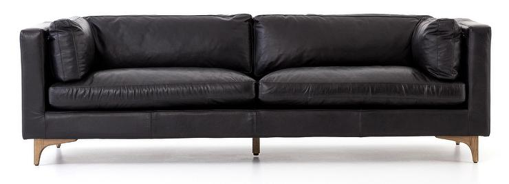 Tremendous Jocelyn Black Leather Wood Legs Sofa Onthecornerstone Fun Painted Chair Ideas Images Onthecornerstoneorg