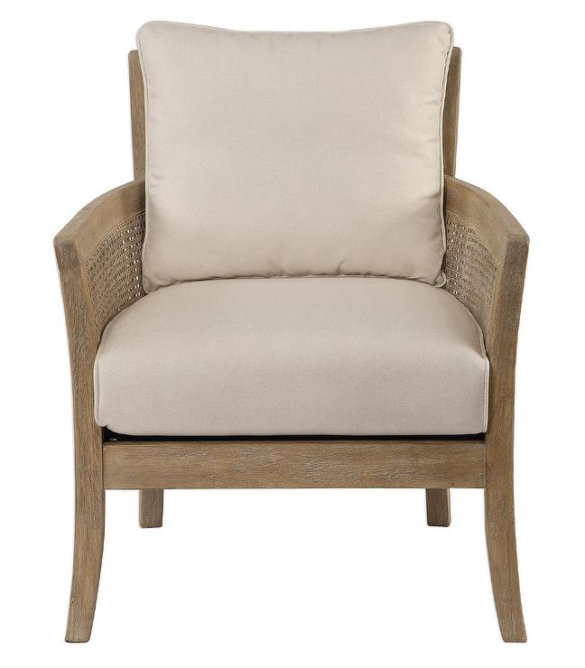 Camryn Curved Natural Cane Wood Arm Chair