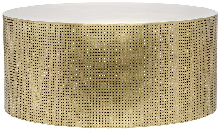 Luxos Round Perforated Brass Coffee Table