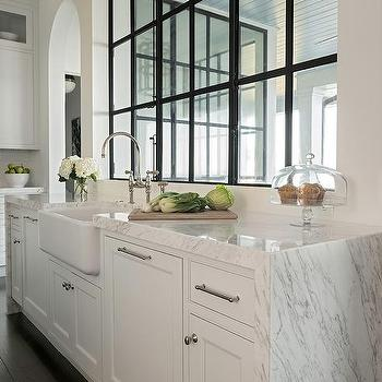 Brushed Oak Kitchen Island With Honed White Marble Countertop Transitional Kitchen