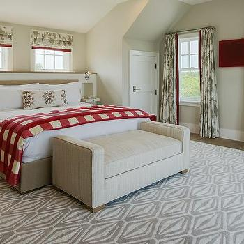 White and Beige Bedroom with Gray Grasscloth Wallpaper ...