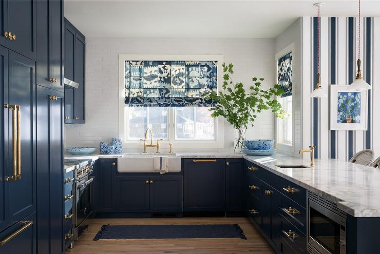 Navy Blue Kitchen Cabinets With Brass Hardware Transitional Kitchen