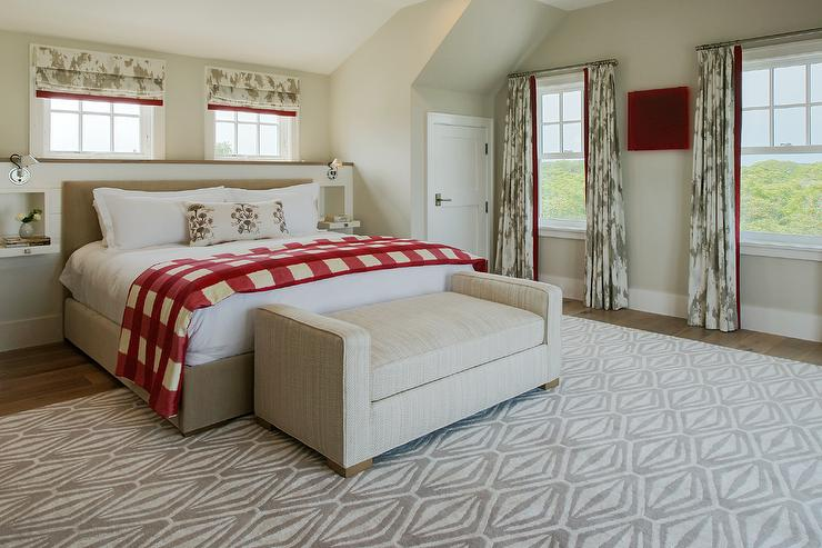 Beige Bed with Red Buffalo Check Throw Blanket - Country ...