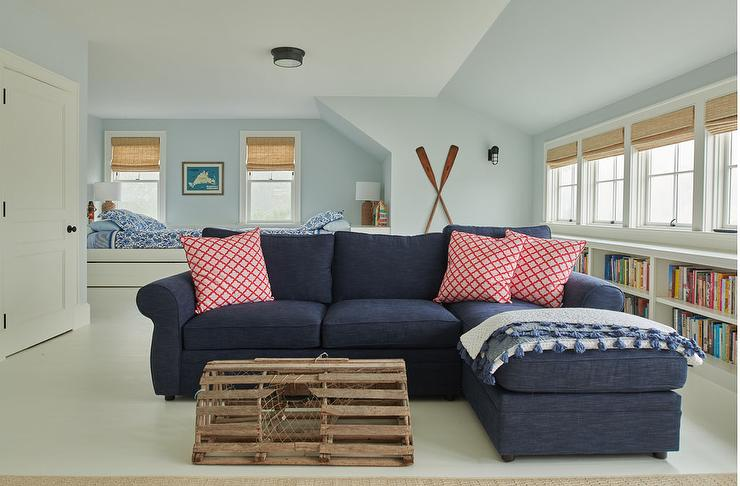 Sensational Navy Blue Roll Sectional With Blue Tassel Throw Blanket Andrewgaddart Wooden Chair Designs For Living Room Andrewgaddartcom