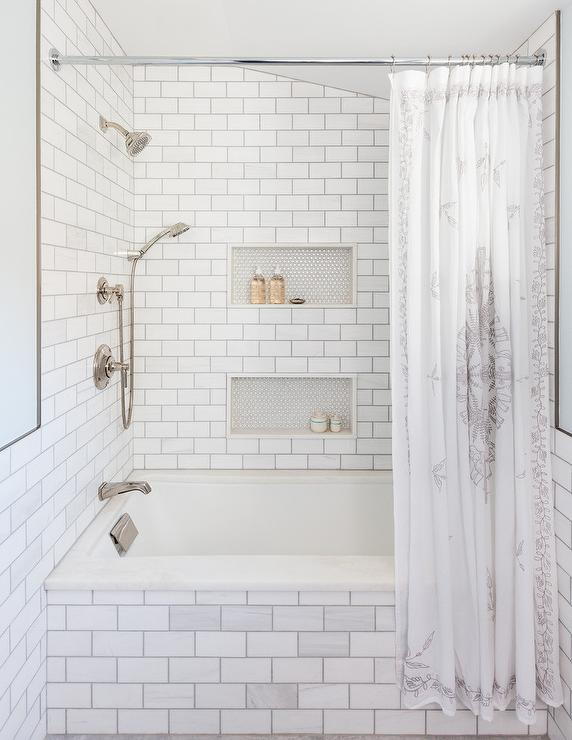 Subway Tiled Drop In Bathtub And Walls Transitional Bathroom