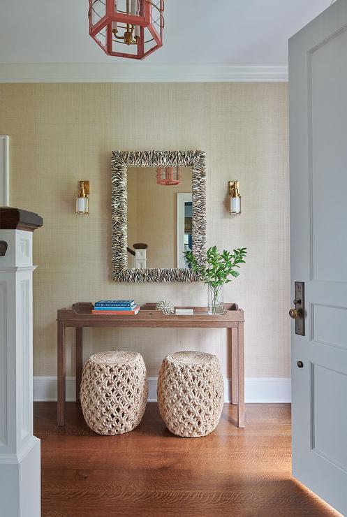 Brown Grasscloth Accent Wall Design Ideas