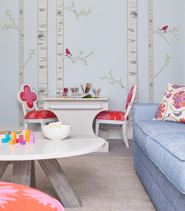 Whimsical Girls Room With Pink Quatrefoil Chairs