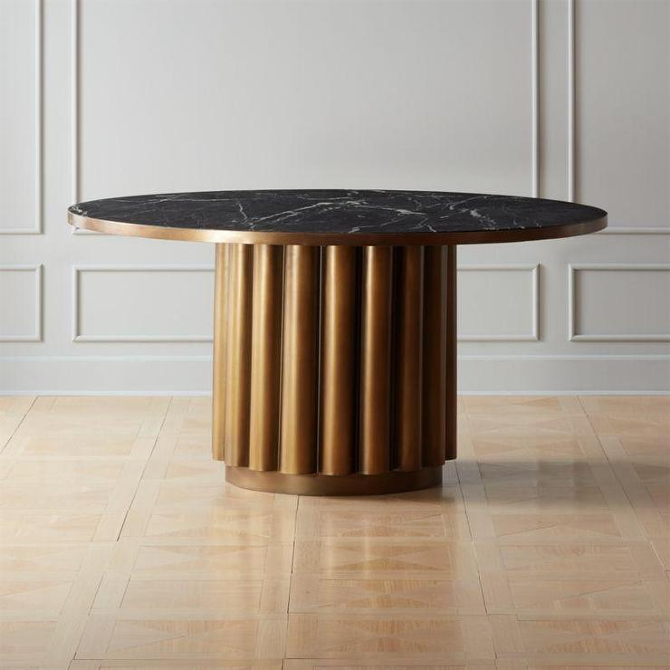 Rocco Rectangular Black Marble Brass Dining Table