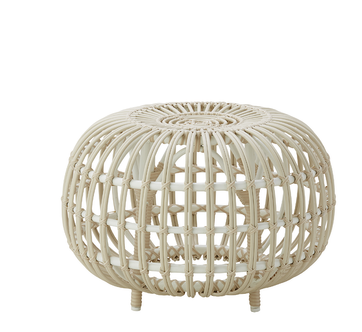 Groovy Noomi Round Slatted White Rattan Ottoman Pabps2019 Chair Design Images Pabps2019Com