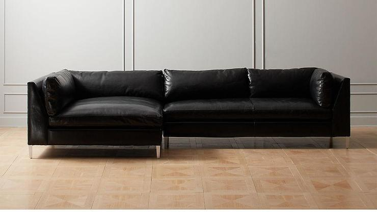 Decker Black Leather Steel 2 Piece Sectional Sofa