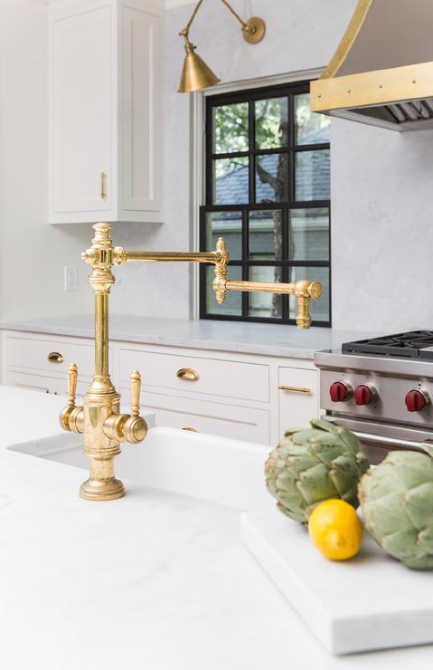 Antique Brass Deck Mount Swing Arm Kitchen Faucet Transitional Kitchen