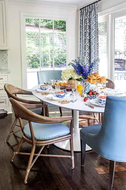 Brown Rattan Dining Chairs with Blue Cushions - Transitional ...