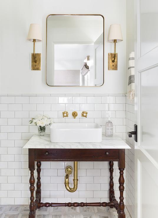 Vintage Spindle Sink Vanity With Vessel Sink Transitional Bathroom