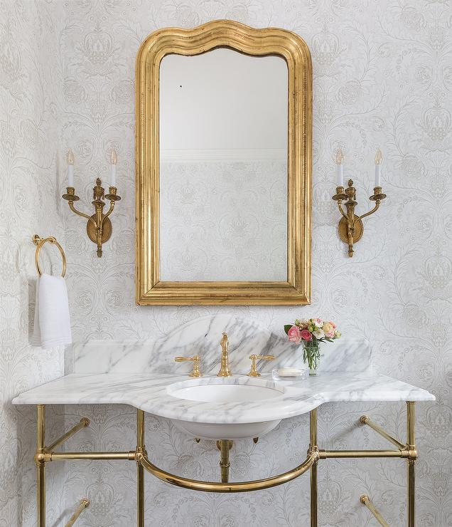 Light Gray French Washstand With Gold Leaves Mirror