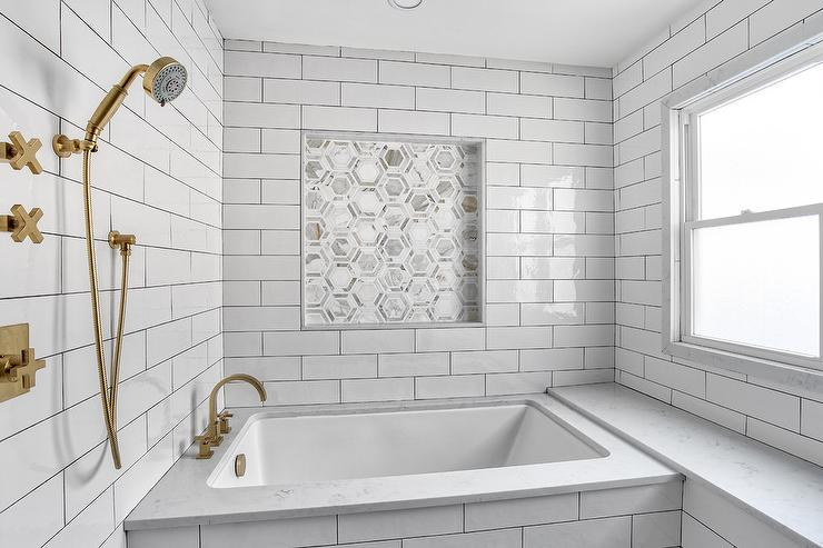 Oversized Marble Subway Tiles Transitional Bathroom