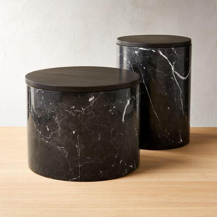 Ishi Cylindrical Black Marble Lidded Canisters