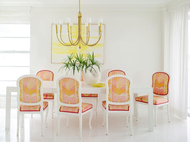 Pink And Orange French Dining Chairs With White Art Deco Dining Table Hollywood Regency Dining Room