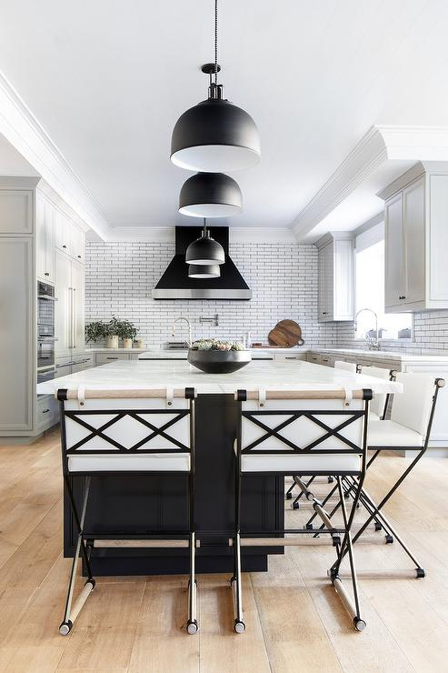 Black Kitchen Island with Black Industrial Pendant Lights ...