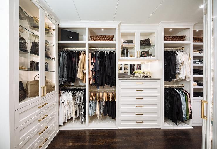 Built In Closet >> White Built In Closet Dresser With Brass Pulls