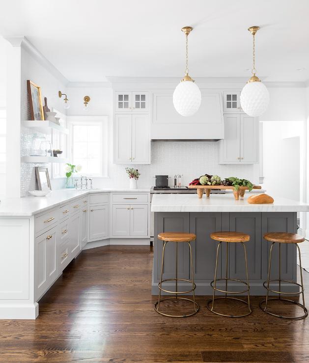 Light Gray Kitchen Cabinets With Dark Gray Island Transitional Kitchen