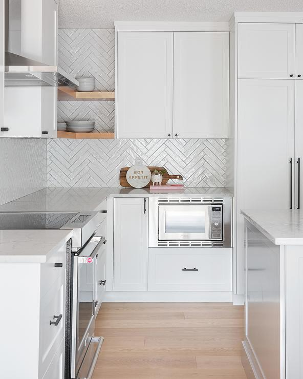 Glossy White Herringbone Kitchen Tiles - Contemporary - Kitchen