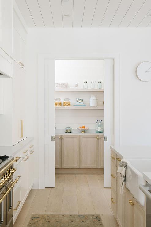 Kitchen Pantry with Bi Fold Pocket Doors - Transitional ...