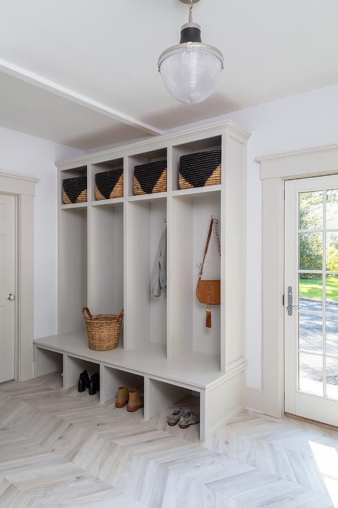 Light Gray Mudroom Lockers with Bench