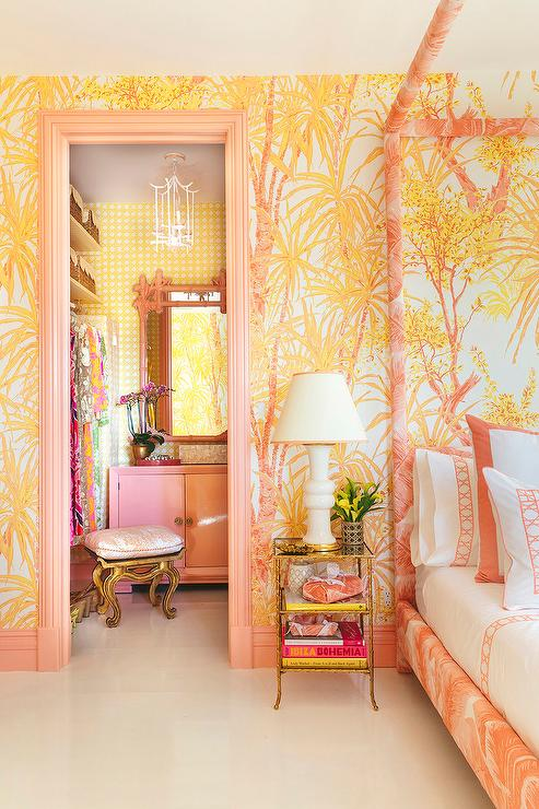 Pink and Orange Bedroom with Pink Canopy Bed - Hollywood ...