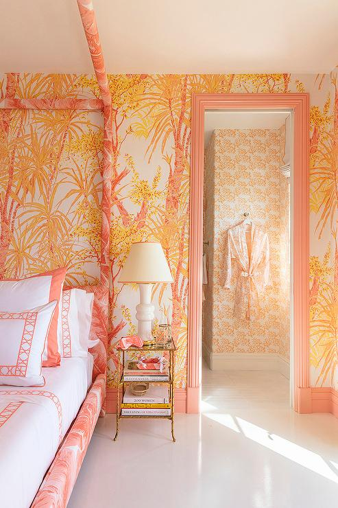 Pink Bed with Gold Bamboo and Mirror Bedside Tables ...